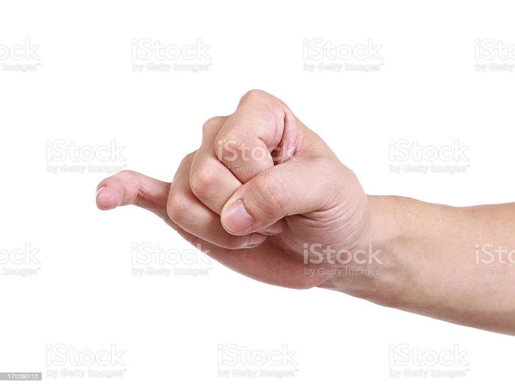 Held out little finger stock photo