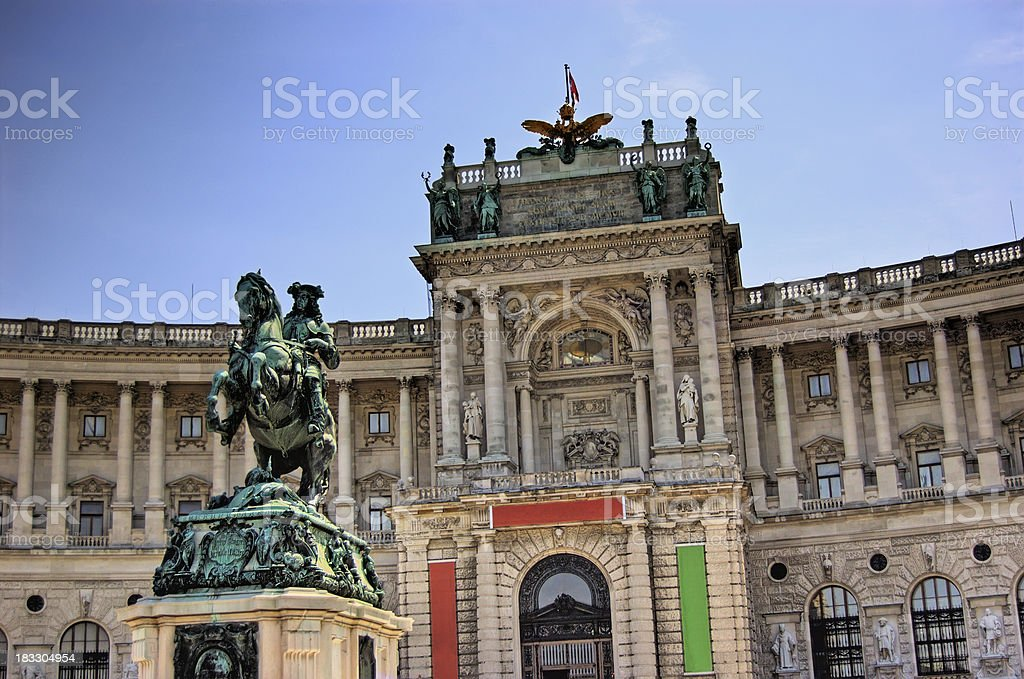 "Heldenplatz and Hofburg Vienna, Austria ""Monument to prince Eugene at the Heldenplatz within the Hofburg in Vienna, Austria. See more images like this in:"" Ancient Stock Photo"