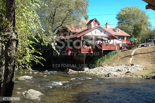Helen, Georgia, USA - October 30, 2005: A restaurant overlooks a creek in Helen. A small town in the Blue Ridge Mountains of north Georgia, that has modeled itself after an Alpine Village. Unique Bavarian architecture and atmosphere that brings in many visitors during its Oktoberfest Celebration each year.