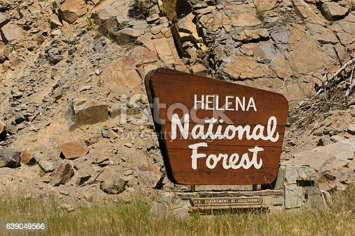 Sign that announces the entrance to Helena National Forest