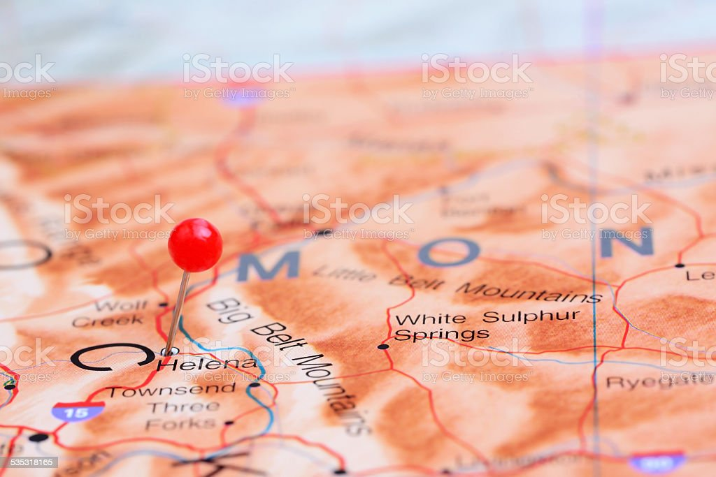 Helena pinned on a map of USA stock photo