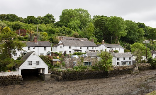 Helford village on the bank of the Helston River, Cornwall, England