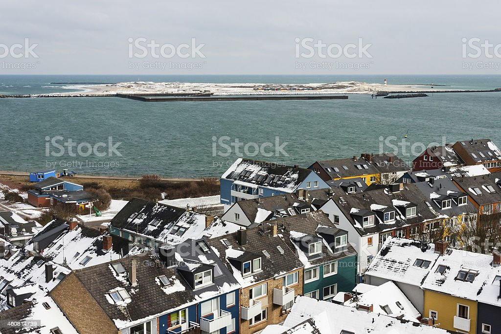 Helgoland and Dune in Winter stock photo