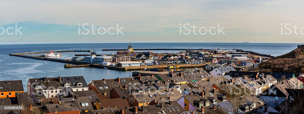helgoland city from hill stock photo
