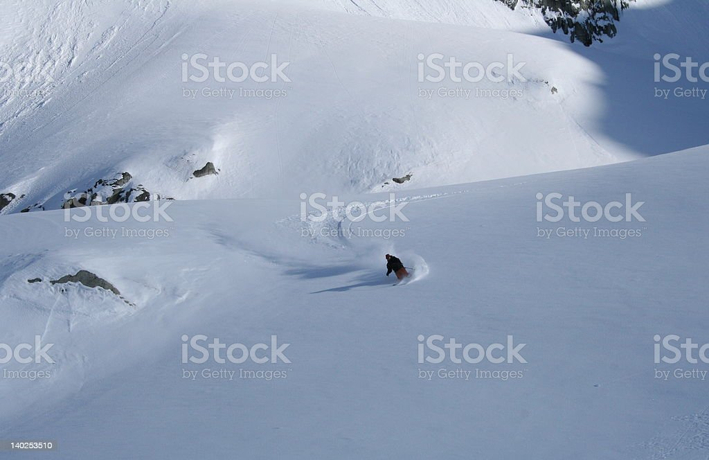 Heli Skier Carving royalty-free stock photo