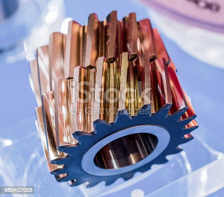 istock Helical gears, oblique teeth involute gearing 680402058