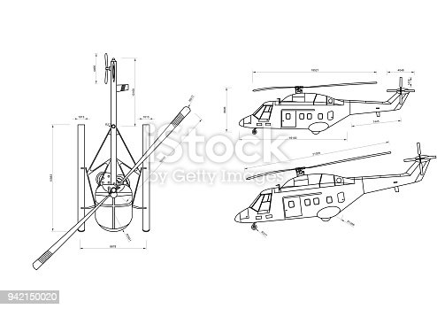 istock Helicopter 3D blueprint - isolated 942150020