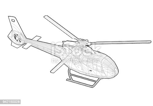 istock Helicopter 3D blueprint – isolated 942150028