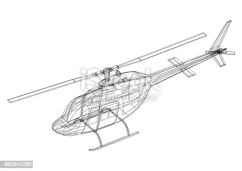 istock Helicopter 3D blueprint - isolated 950844286