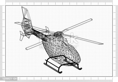 istock Helicopter 3D blueprint 1059521104