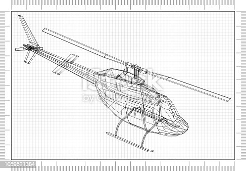 istock Helicopter 3D blueprint 1059521364