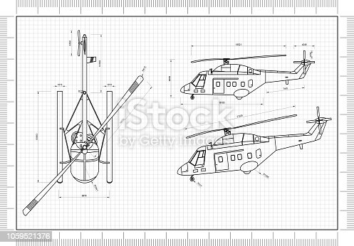 istock Helicopter 3D blueprint 1059521376