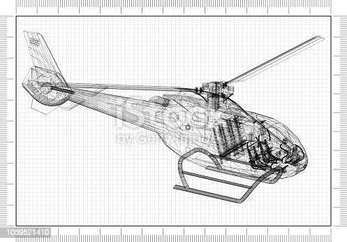 istock Helicopter 3D blueprint 1059521410