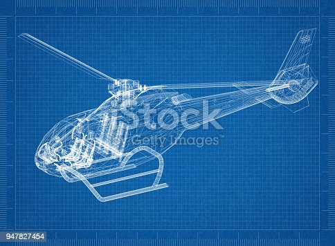 istock Helicopter 3D blueprint 947827454