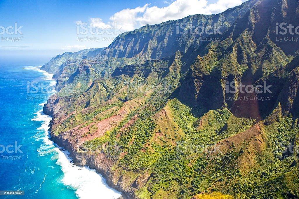 Helicopter Aerial Scenic Na Pali Coast of Kauai stock photo