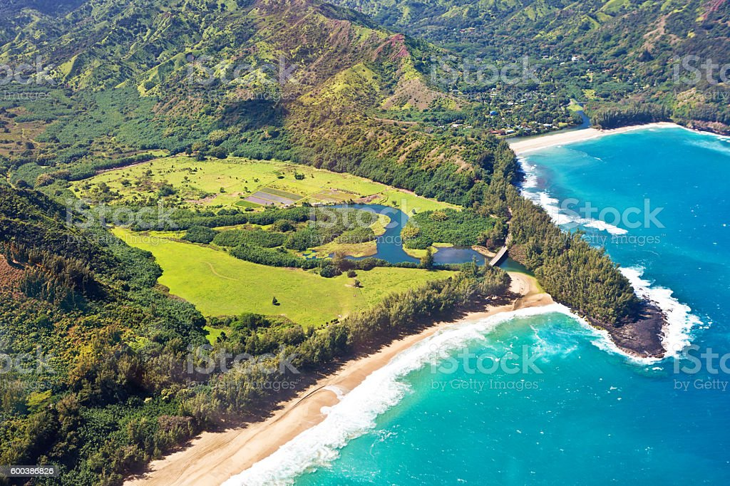 Helicopter Aerial Scenic view of Lumahai Beach of Kauai stock photo