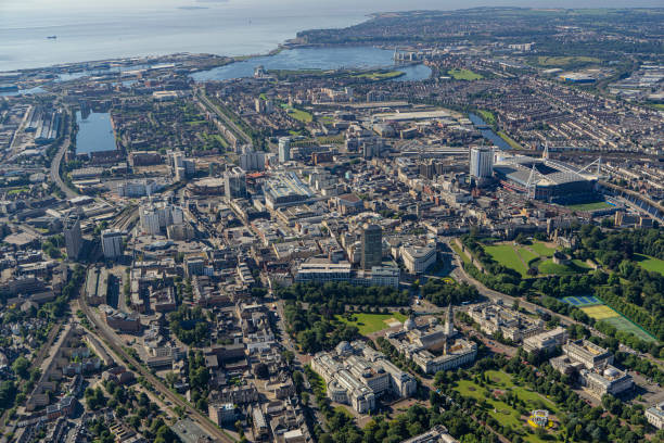 Helicopter aerial shot of Cardiff City Centre, Wales, UK stock photo