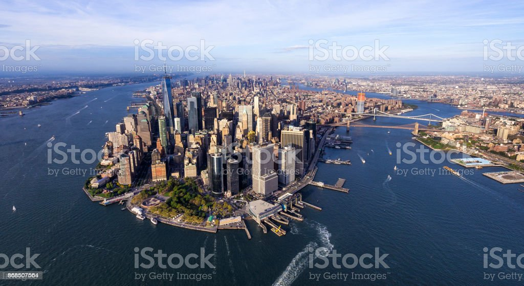 helicopter aerial view of manhattan stock photo