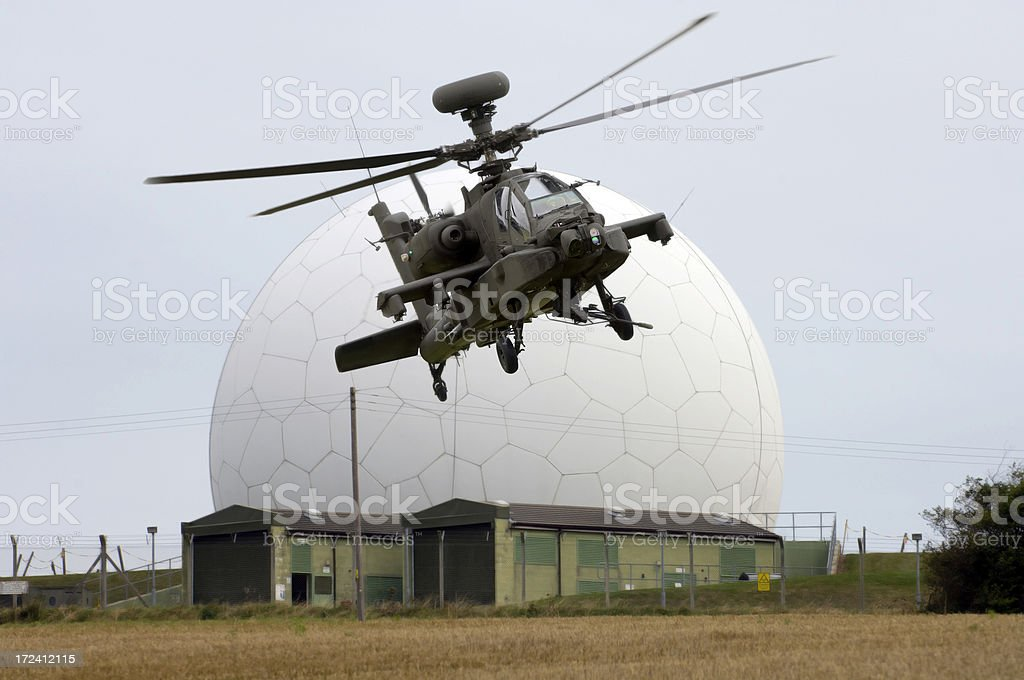 Helicopter and Radar dome stock photo