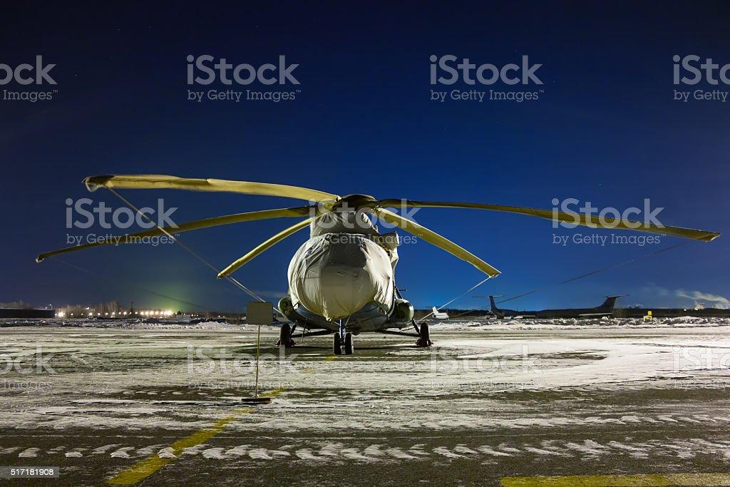 Вертолет сон ночью с элементом в виде фартука стоковое фото