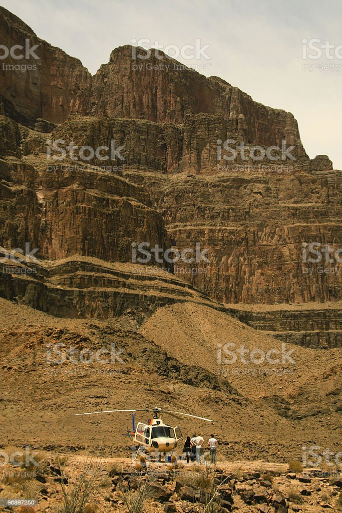 Helicopter at end of Grand Canyon royalty-free stock photo
