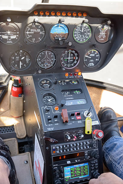 helicopter cockpit control panel dashboard gauges controls stock photo