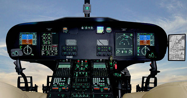 helicopter cockpit instruments panel - simulator stock-fotos und bilder