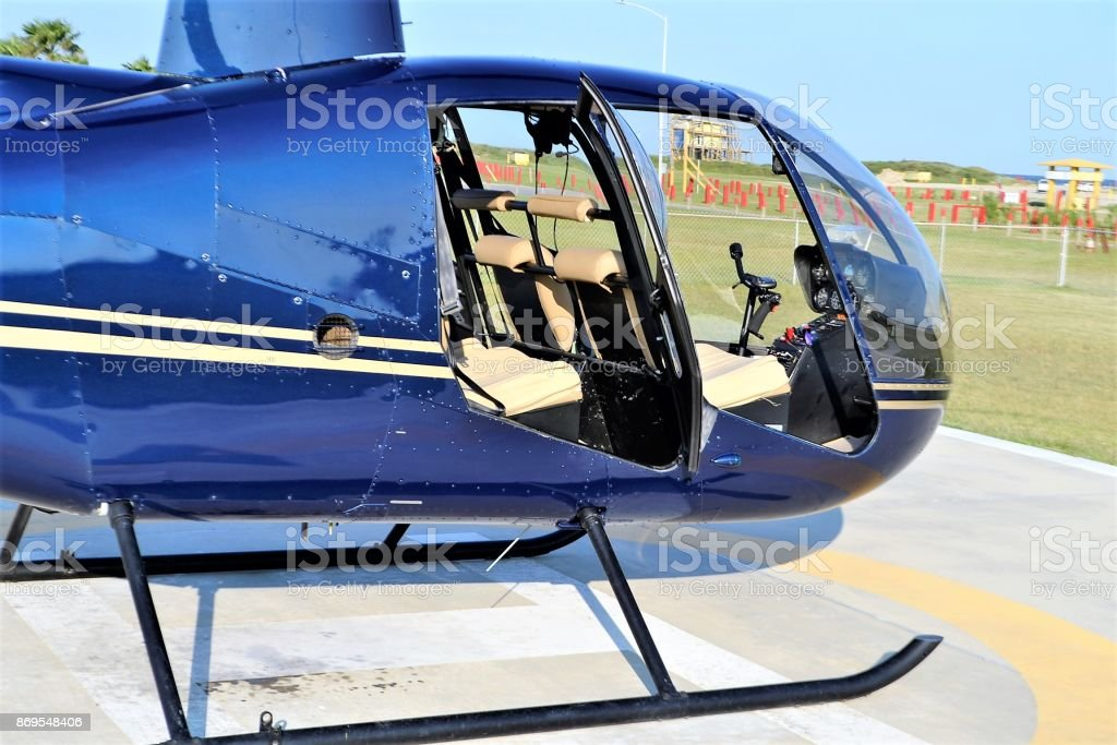 Helicopter cockpit stock photo