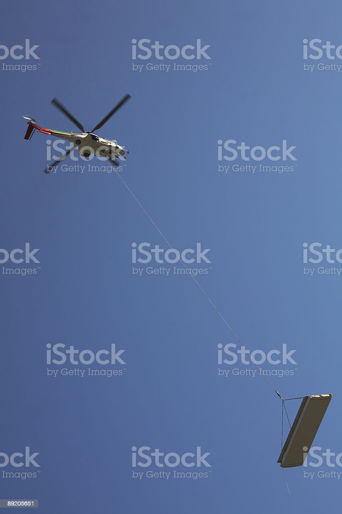 Helicopter construction wire stock photo