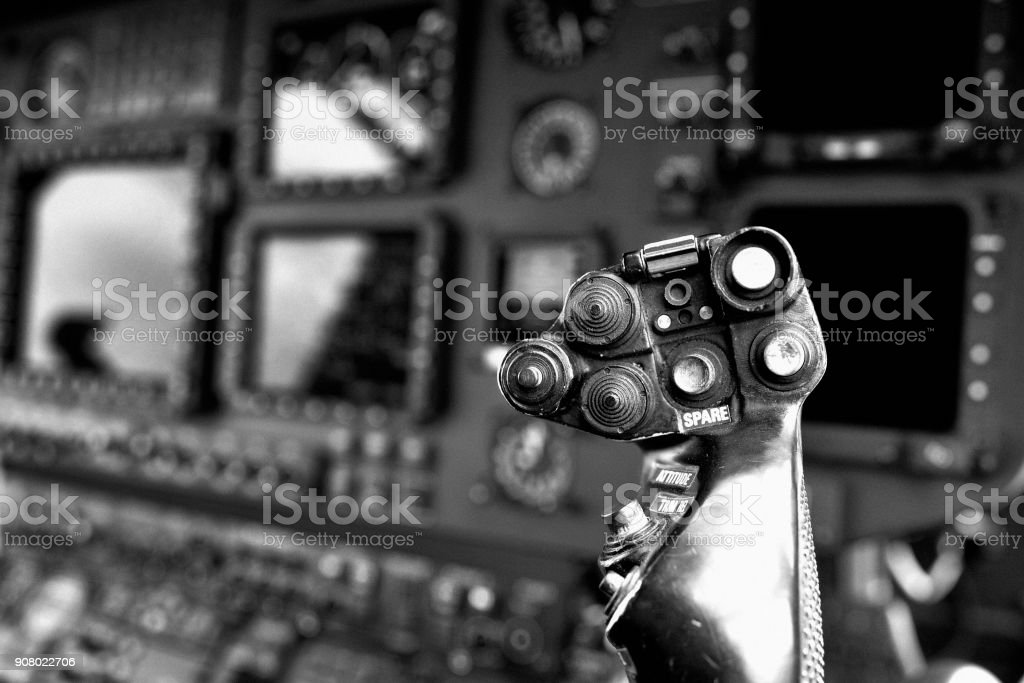 Helicopter Cyclic Stick stock photo