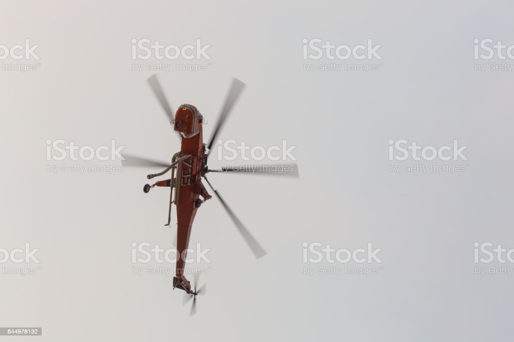 Helicopter doing drops of water on the La Tuna wildfire in Los Angeles stock photo