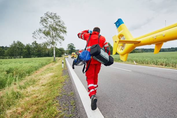 Helicopter emergency medical service stock photo