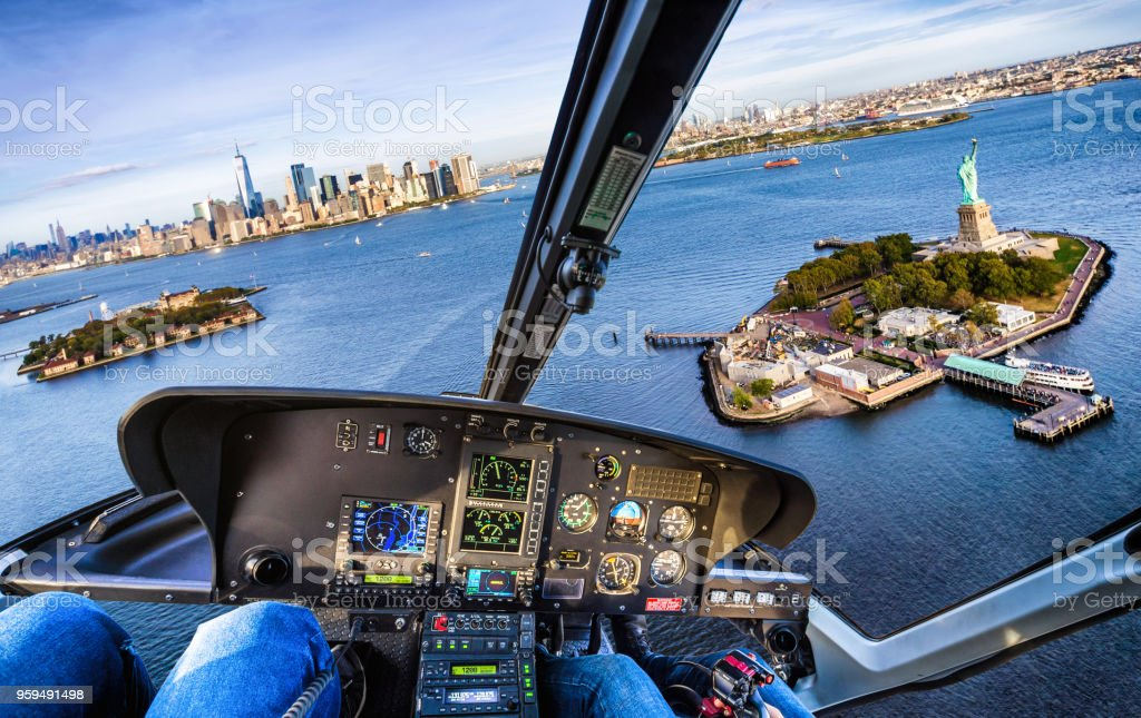 helicopter flight in Liberty Island. New York. USA stock photo