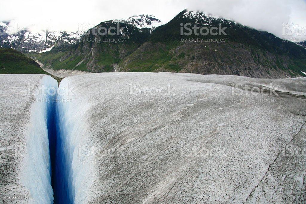 Helicopter Flight Over Mendenhall Glacier, Skaguay, Alaska, USA stock photo