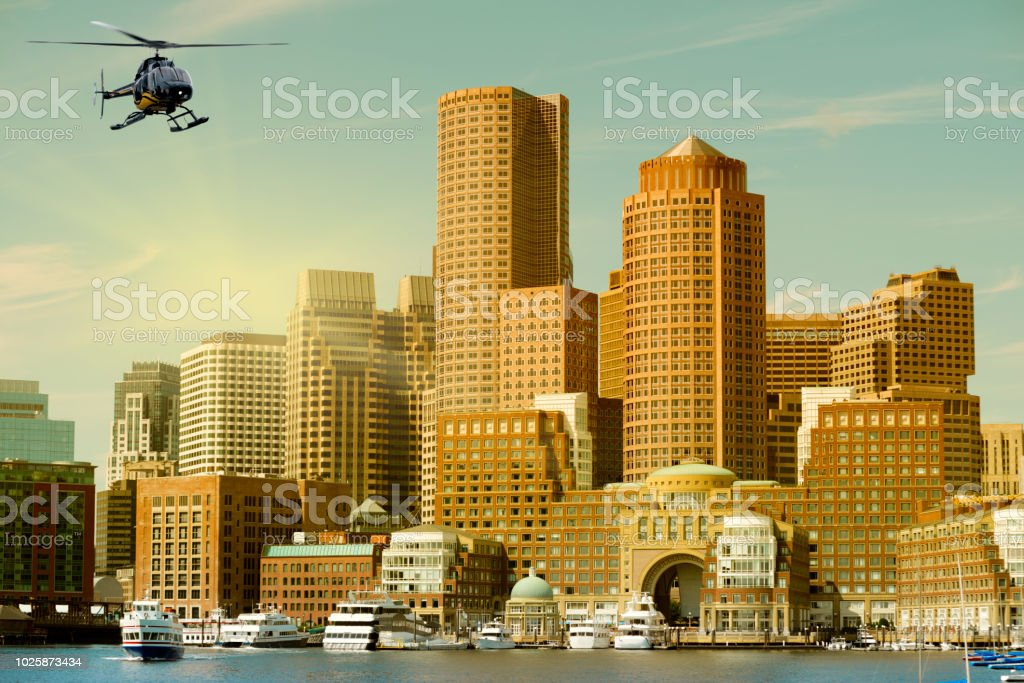 Why Are Helicopters Flying Over Boston Today >> Helicopter Flying Over Boston Massachusetts Usa Stock Photo More