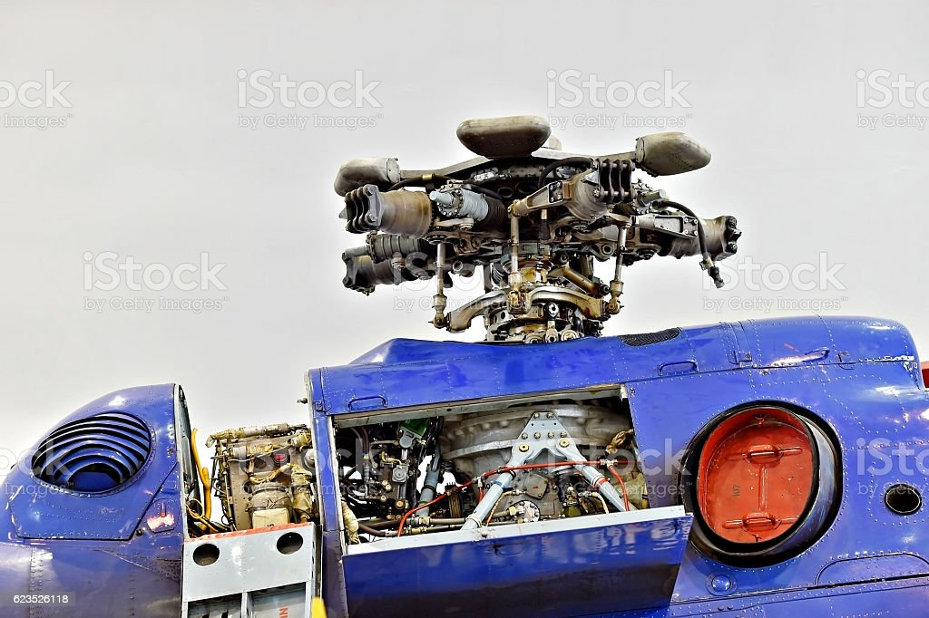 Helicopter fuselage detail in factory stock photo