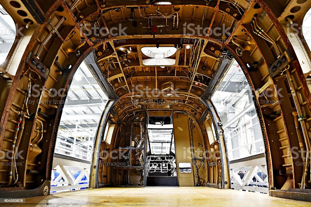 Helicopter fuselage in a factory stock photo