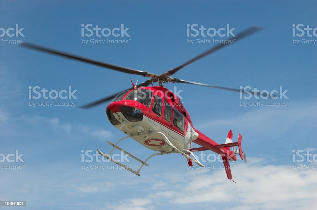 Helicopter in Flight stock photo
