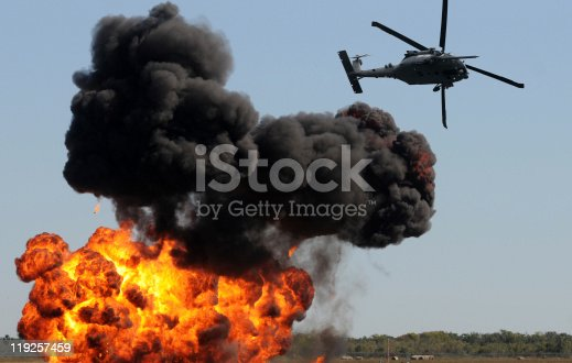 istock Helicopter in ground attack 119257459