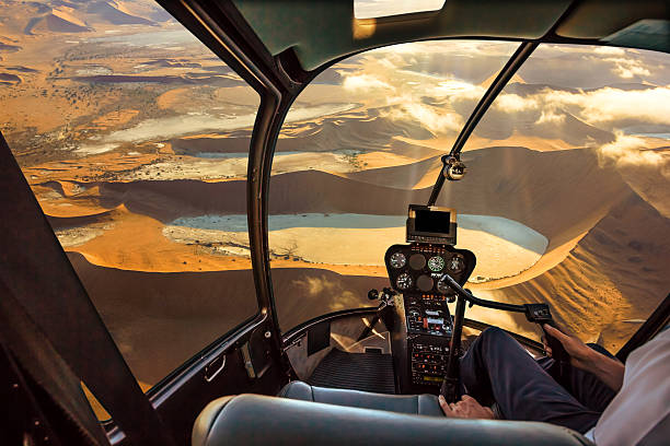 Helicopter In Sossusvlei Desert Stock Photo