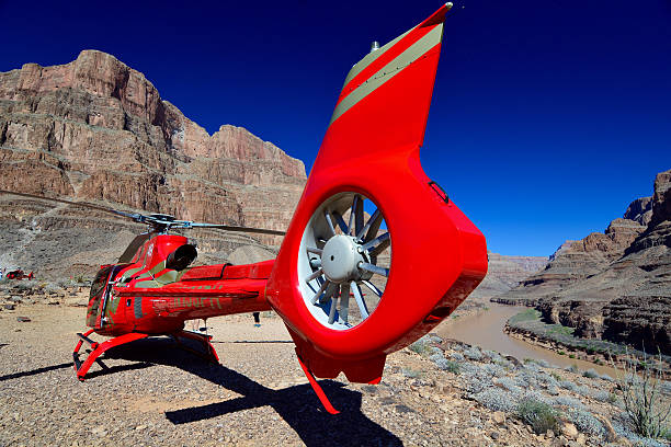 Helicopter in the Grand Canyon stock photo