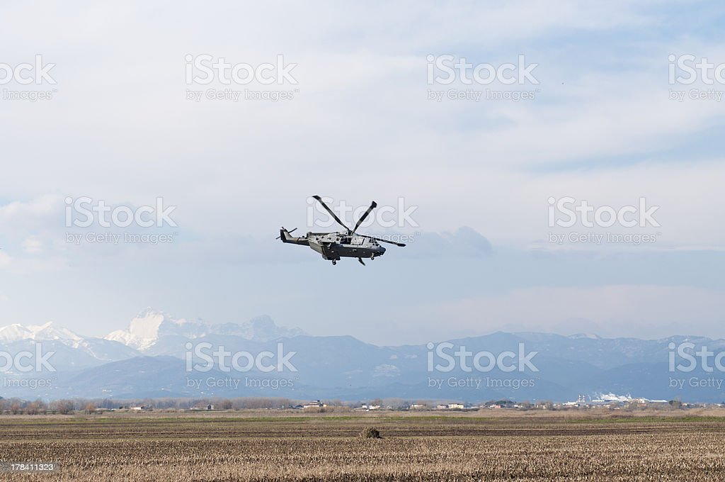 Helicopter in the plain royalty-free stock photo
