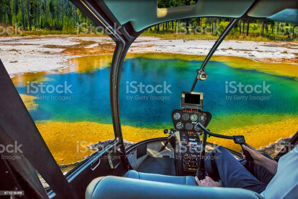 Helicopter in Yellowstone stock photo