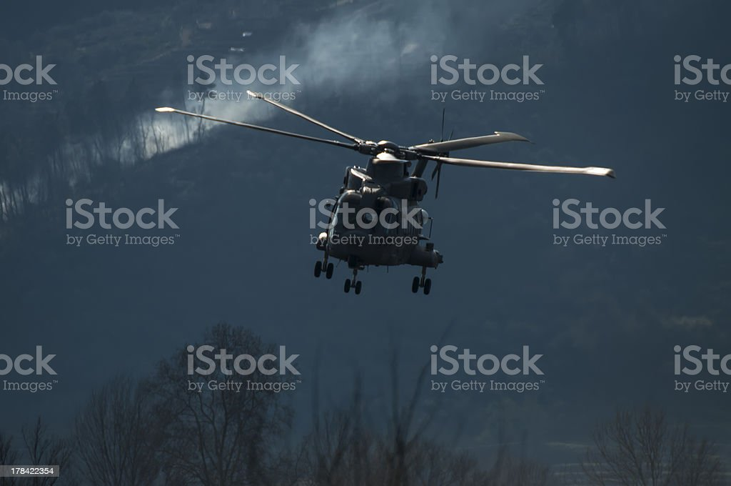 Helicopter is lowered royalty-free stock photo