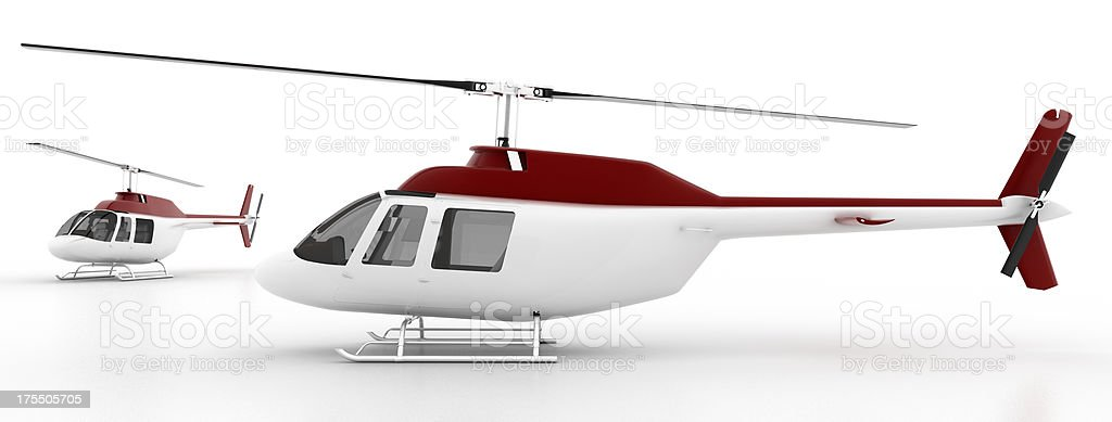 Helicopter isolated on white stock photo