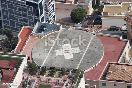 istock Helicopter Landing Pad on a Hospital Building 520886366