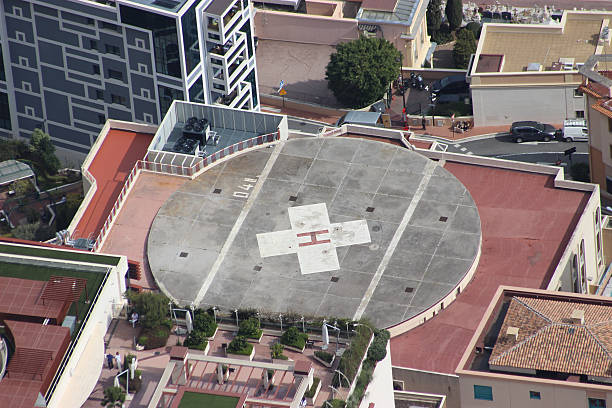 Helicopter Landing Pad on a Hospital Building stock photo