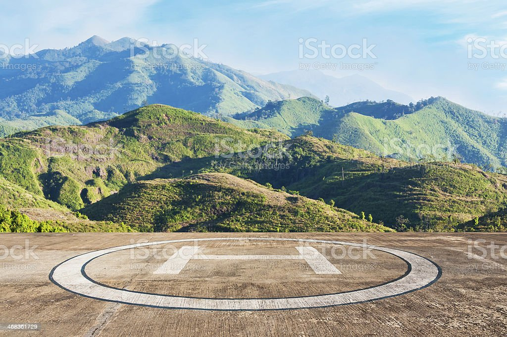 Helicopter landing royalty-free stock photo