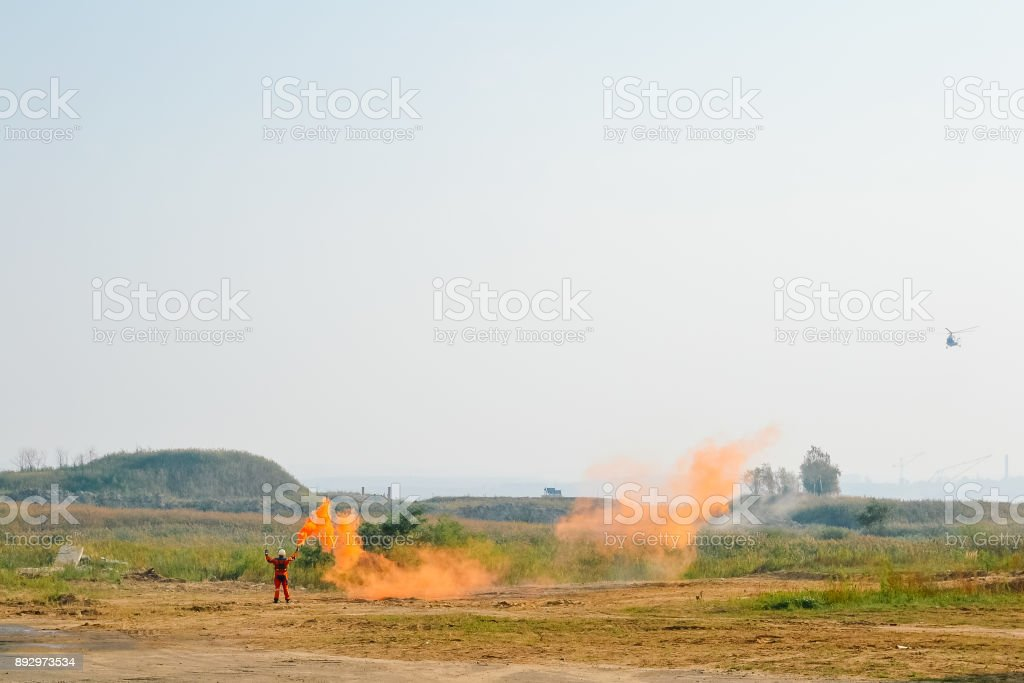 helicopter landing signals stock photo