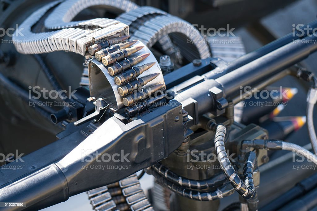 Helicopter machine gun stock photo
